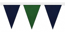 NAVY BLUE AND DARK GREEN TRIANGULAR BUNTING - 10m / 20m / 50m LENGTHS